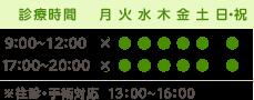 診療時間 9:00-12:00 17:00-20:00